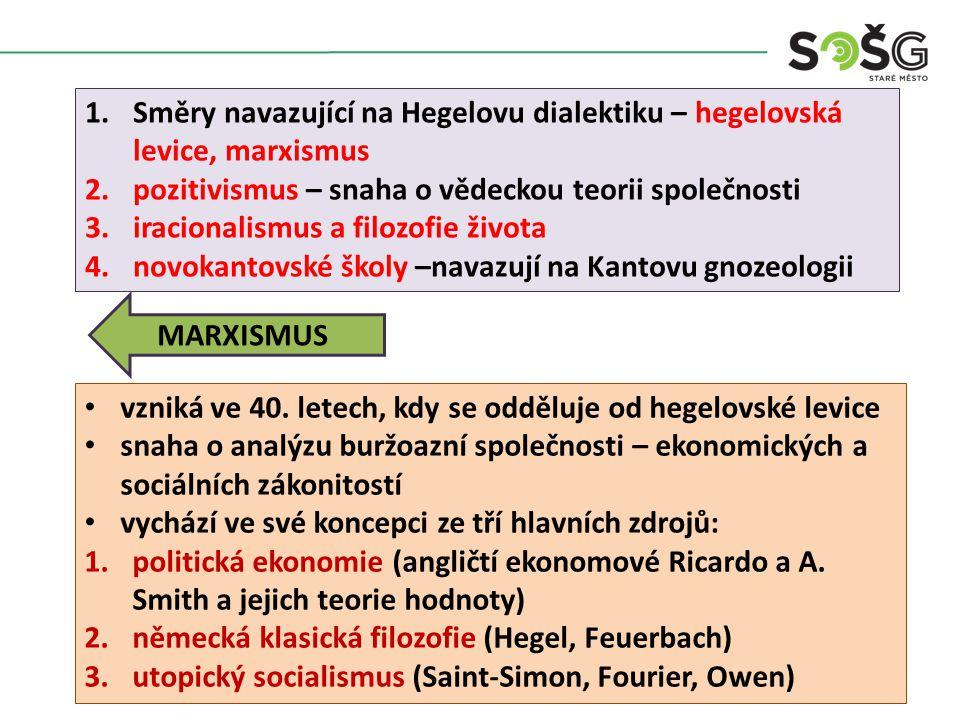 1.Směry navazující na Hegelovu dialektiku – hegelovská levice, marxismus 2.pozitivismus – snaha o vědeckou teorii společnosti 3.iracionalismus a filoz