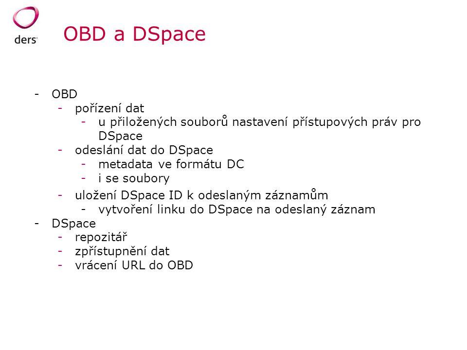 OBD a DSpace -OBD -pořízení dat -u přiložených souborů nastavení přístupových práv pro DSpace -odeslání dat do DSpace -metadata ve formátu DC -i se so