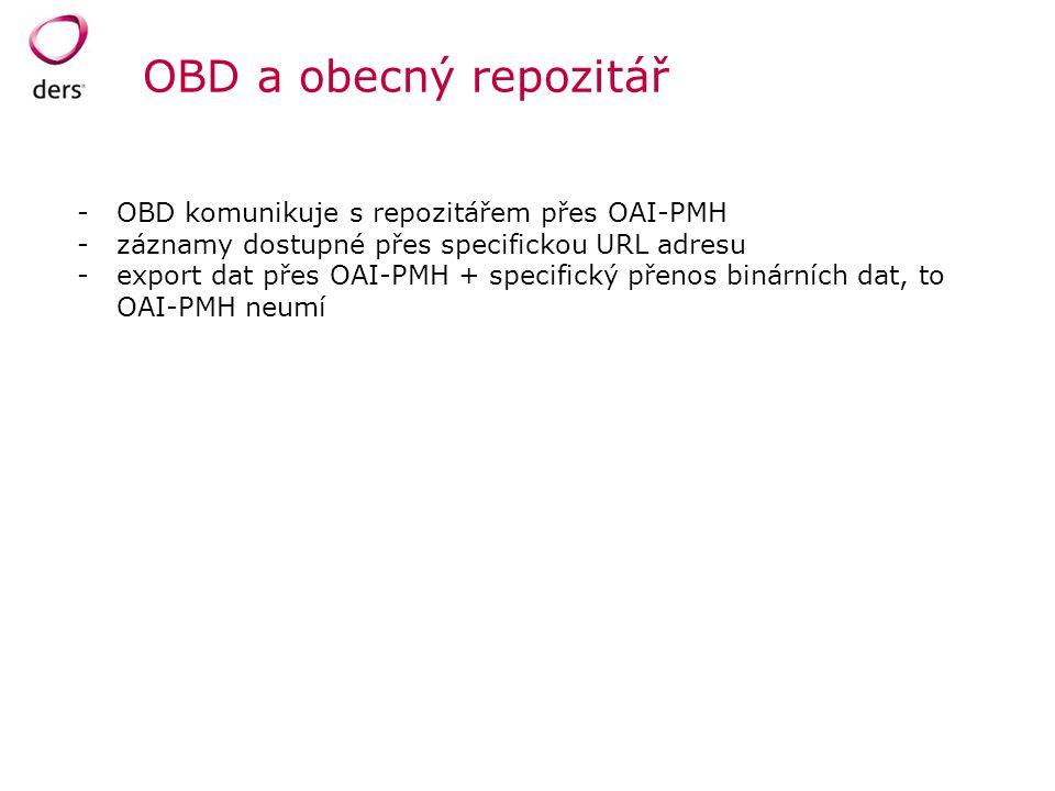 OBD a obecný repozitář -OBD komunikuje s repozitářem přes OAI-PMH -záznamy dostupné přes specifickou URL adresu -export dat přes OAI-PMH + specifický