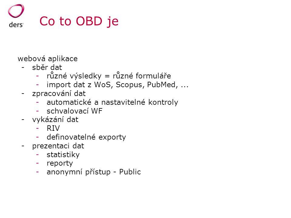 Co to OBD je webová aplikace -sběr dat -různé výsledky = různé formuláře -import dat z WoS, Scopus, PubMed,... -zpracování dat -automatické a nastavit