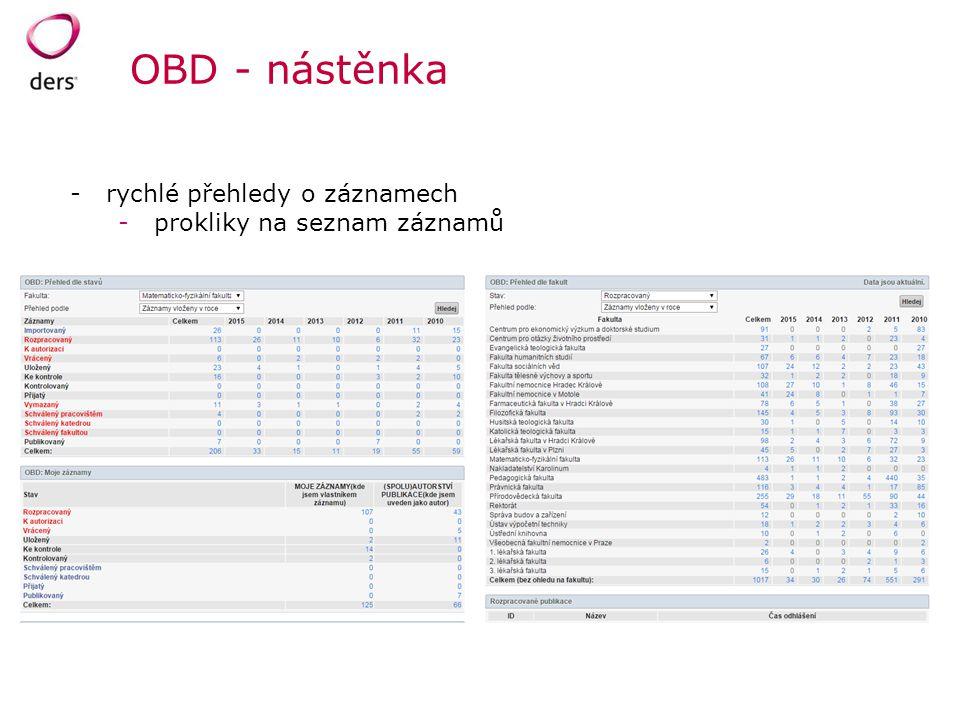 OBD - nástěnka -rychlé přehledy o záznamech -prokliky na seznam záznamů