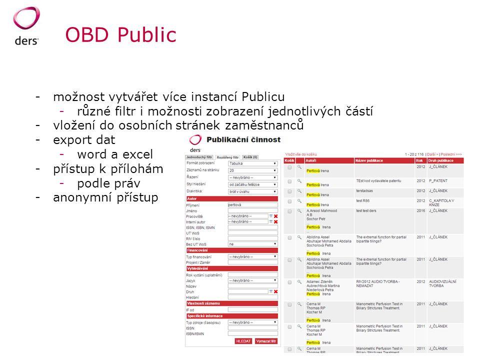 OBD Public -možnost vytvářet více instancí Publicu -různé filtr i možnosti zobrazení jednotlivých částí -vložení do osobních stránek zaměstnanců -expo