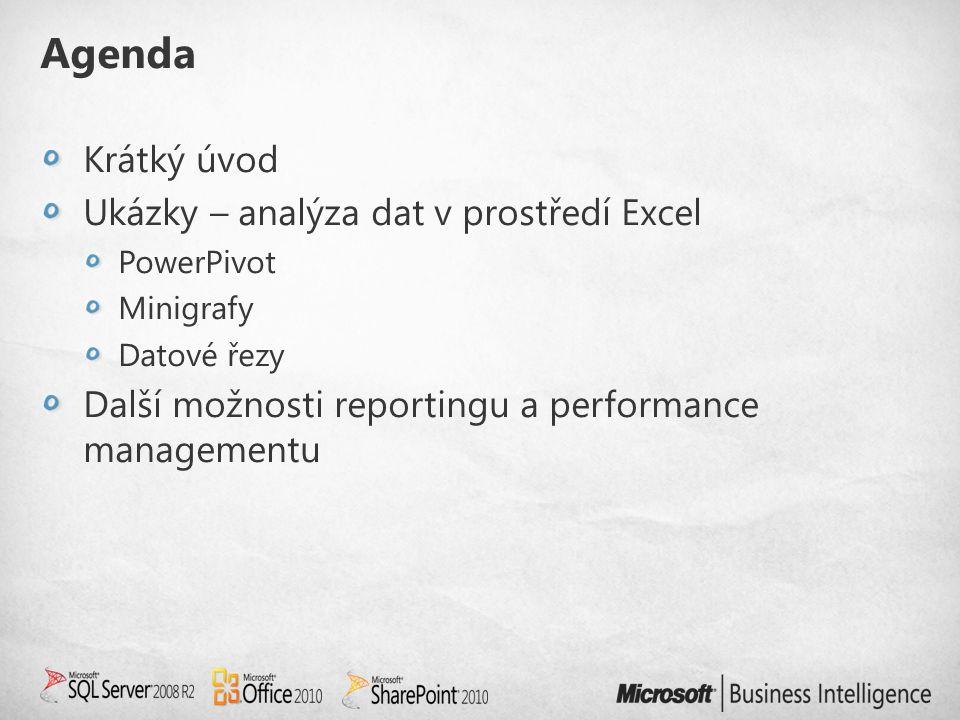 Agenda Krátký úvod Ukázky – analýza dat v prostředí Excel PowerPivot Minigrafy Datové řezy Další možnosti reportingu a performance managementu