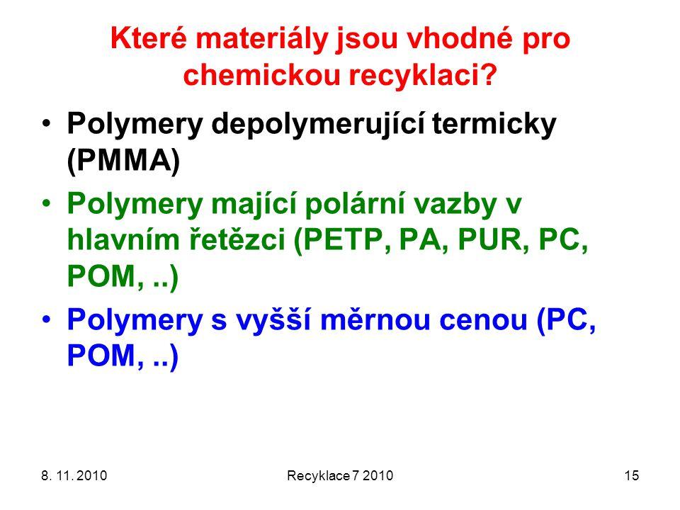 Které materiály jsou vhodné pro chemickou recyklaci? 8. 11. 2010Recyklace 7 201015 Polymery depolymerující termicky (PMMA) Polymery mající polární vaz