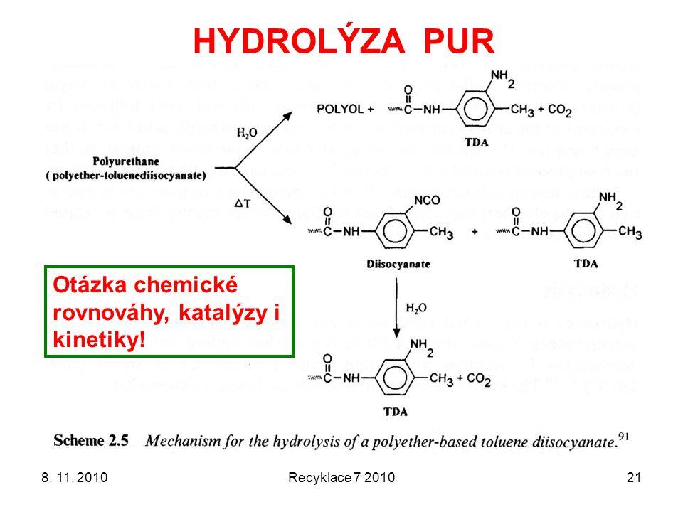 8. 11. 2010Recyklace 7 201021 HYDROLÝZA PUR Otázka chemické rovnováhy, katalýzy i kinetiky!