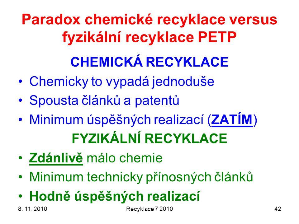 Paradox chemické recyklace versus fyzikální recyklace PETP CHEMICKÁ RECYKLACE Chemicky to vypadá jednoduše Spousta článků a patentů Minimum úspěšných