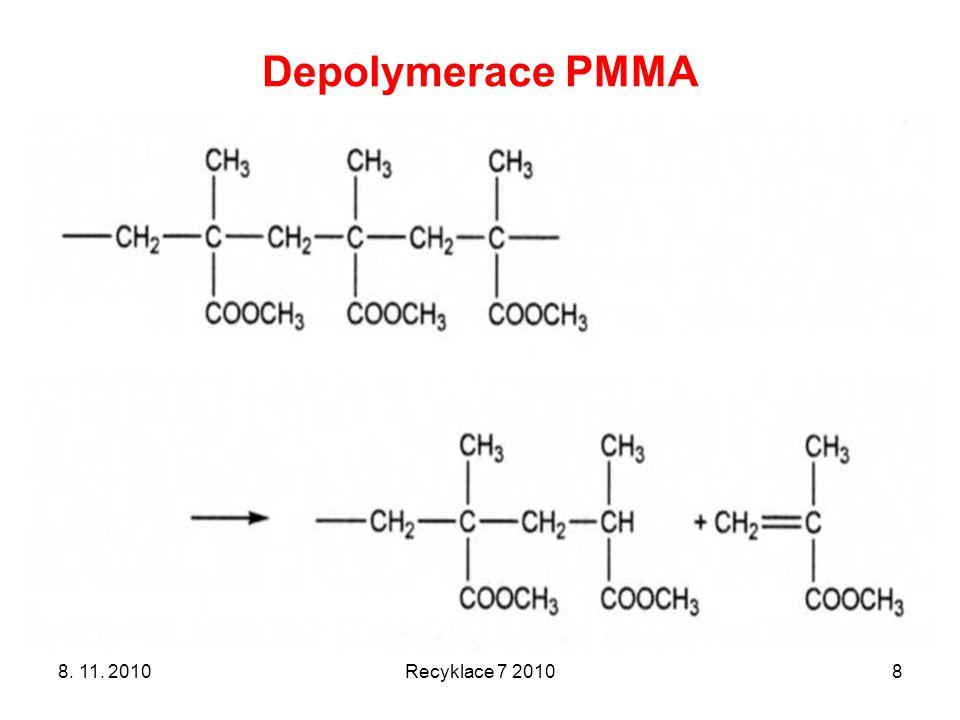 Termická depolymerace PMMA Poprvé patentováno v Německu už v roce 1949 Další procesy: –Depolymerace ve dvojšnekovém extruderu (1998) –Termický rozklad drtě při 500 °C (1997) firmy ICI & Mitsubishi Rayon 8.