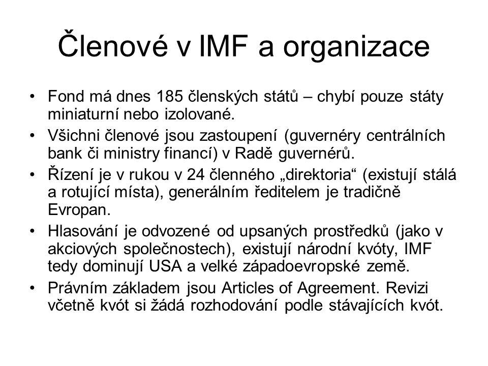 Členové v IMF a organizace Fond má dnes 185 členských států – chybí pouze státy miniaturní nebo izolované. Všichni členové jsou zastoupení (guvernéry