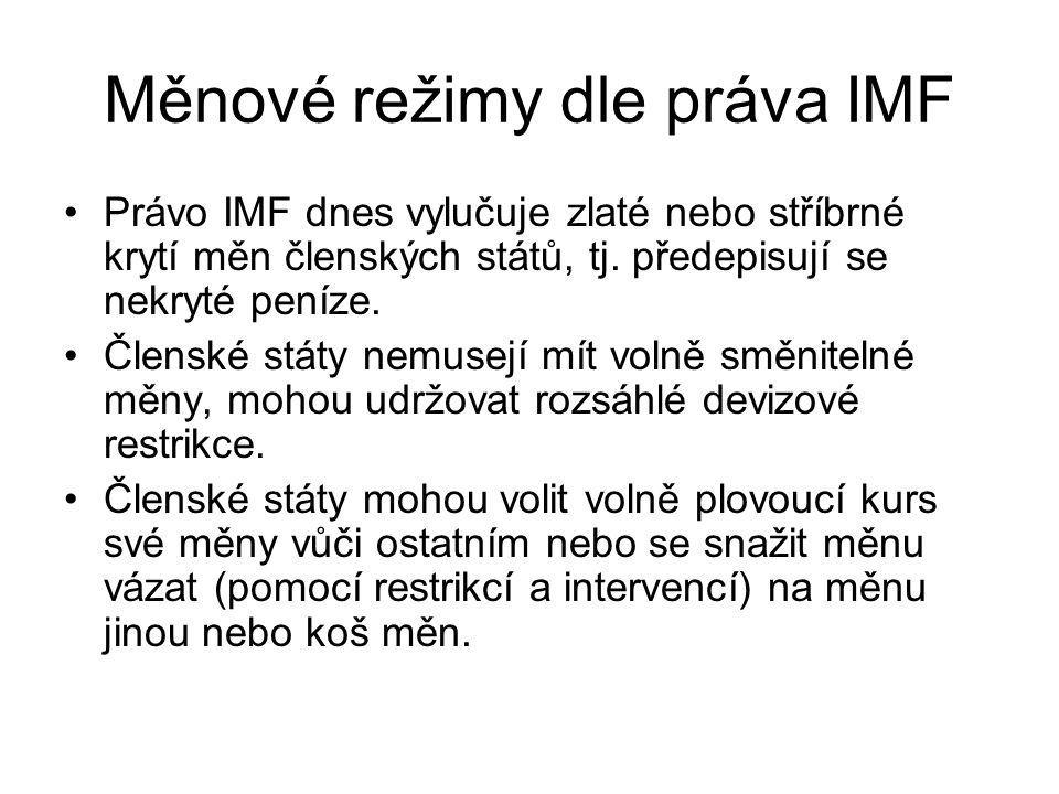 Měnové režimy dle práva IMF Právo IMF dnes vylučuje zlaté nebo stříbrné krytí měn členských států, tj. předepisují se nekryté peníze. Členské státy ne