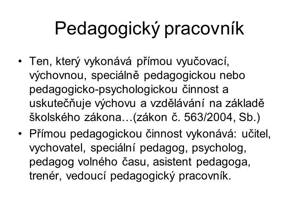Pedagogický pracovník Ten, který vykonává přímou vyučovací, výchovnou, speciálně pedagogickou nebo pedagogicko-psychologickou činnost a uskutečňuje vý