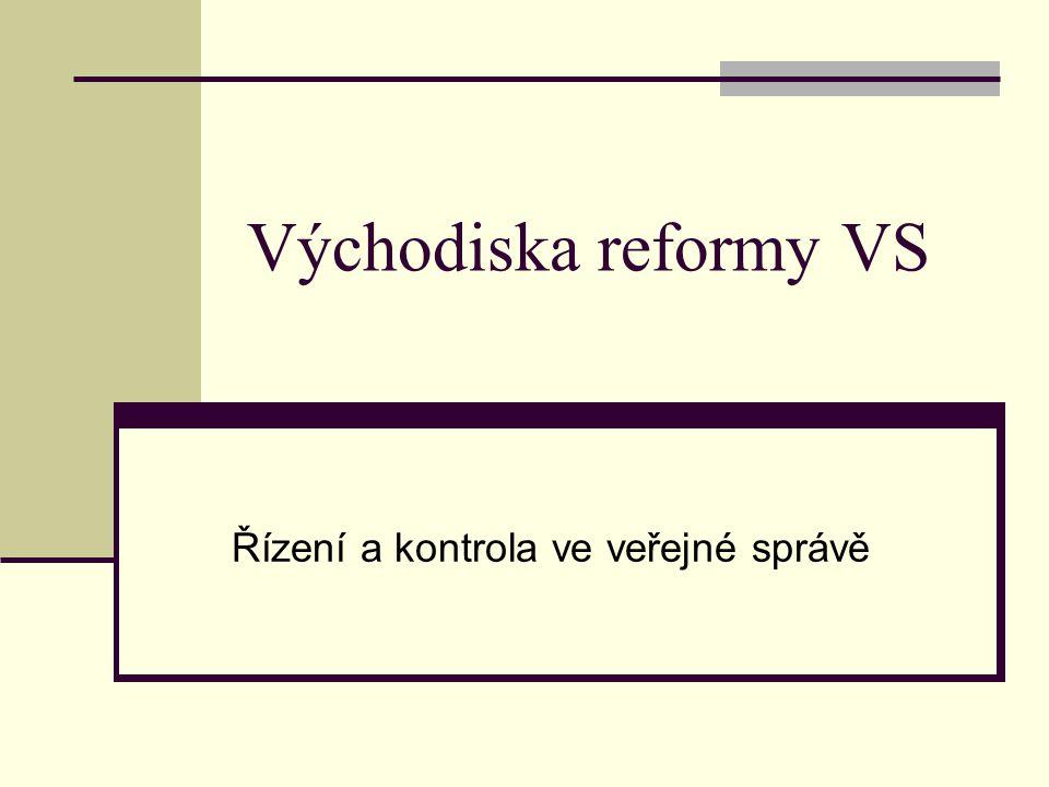 Mezinárodní trendy v reformování veřejné správy kvalita a efektivita veřejné správy - spolupráce se soukromým sektorem plnění strategických plánů a indikátorů pro zkvalitnění správy s politickou prioritou zvýšení potenciálu státní správy kvalifikace úřednického personálu transparentnost a přístupnost občanům racionální decentralizace na základě principu subsidiarity