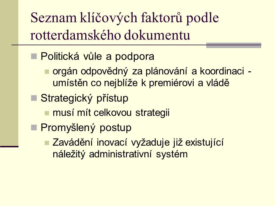 Seznam klíčových faktorů podle rotterdamského dokumentu Politická vůle a podpora orgán odpovědný za plánování a koordinaci - umístěn co nejblíže k premiérovi a vládě Strategický přístup musí mít celkovou strategii Promyšlený postup Zavádění inovací vyžaduje již existující náležitý administrativní systém