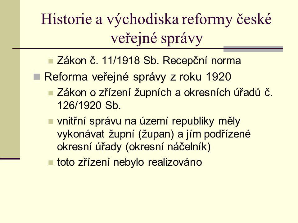 Historie a východiska reformy české veřejné správy Zákon č.
