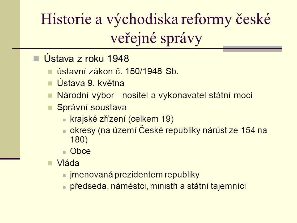 Historie a východiska reformy české veřejné správy Ústava z roku 1948 ústavní zákon č.