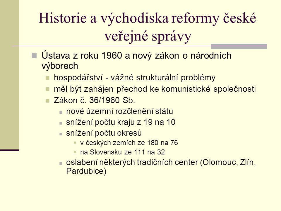 Historie a východiska reformy české veřejné správy Ústava z roku 1960 a nový zákon o národních výborech hospodářství - vážné strukturální problémy měl být zahájen přechod ke komunistické společnosti Zákon č.