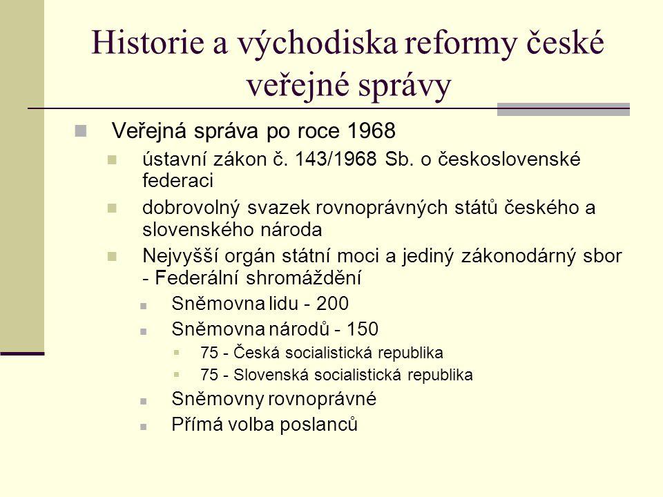 Historie a východiska reformy české veřejné správy Veřejná správa po roce 1968 ústavní zákon č.