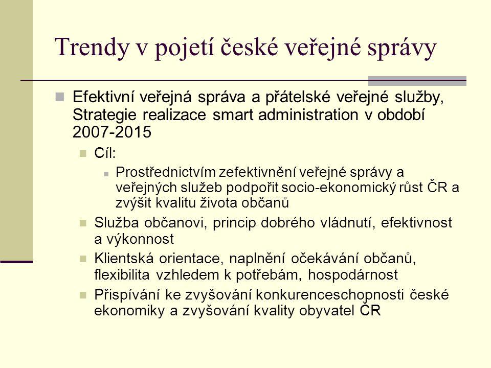 Trendy v pojetí české veřejné správy Efektivní veřejná správa a přátelské veřejné služby, Strategie realizace smart administration v období 2007-2015 Cíl: Prostřednictvím zefektivnění veřejné správy a veřejných služeb podpořit socio-ekonomický růst ČR a zvýšit kvalitu života občanů Služba občanovi, princip dobrého vládnutí, efektivnost a výkonnost Klientská orientace, naplnění očekávání občanů, flexibilita vzhledem k potřebám, hospodárnost Přispívání ke zvyšování konkurenceschopnosti české ekonomiky a zvyšování kvality obyvatel ČR