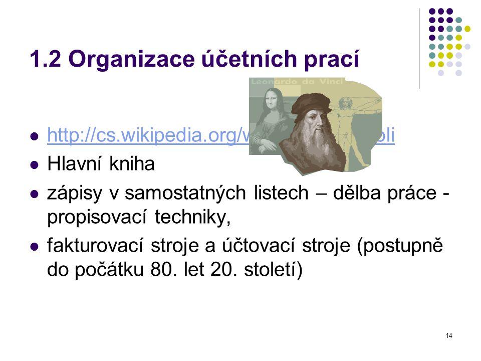14 1.2 Organizace účetních prací http://cs.wikipedia.org/wiki/Luca_Pacioli Hlavní kniha zápisy v samostatných listech – dělba práce - propisovací techniky, fakturovací stroje a účtovací stroje (postupně do počátku 80.