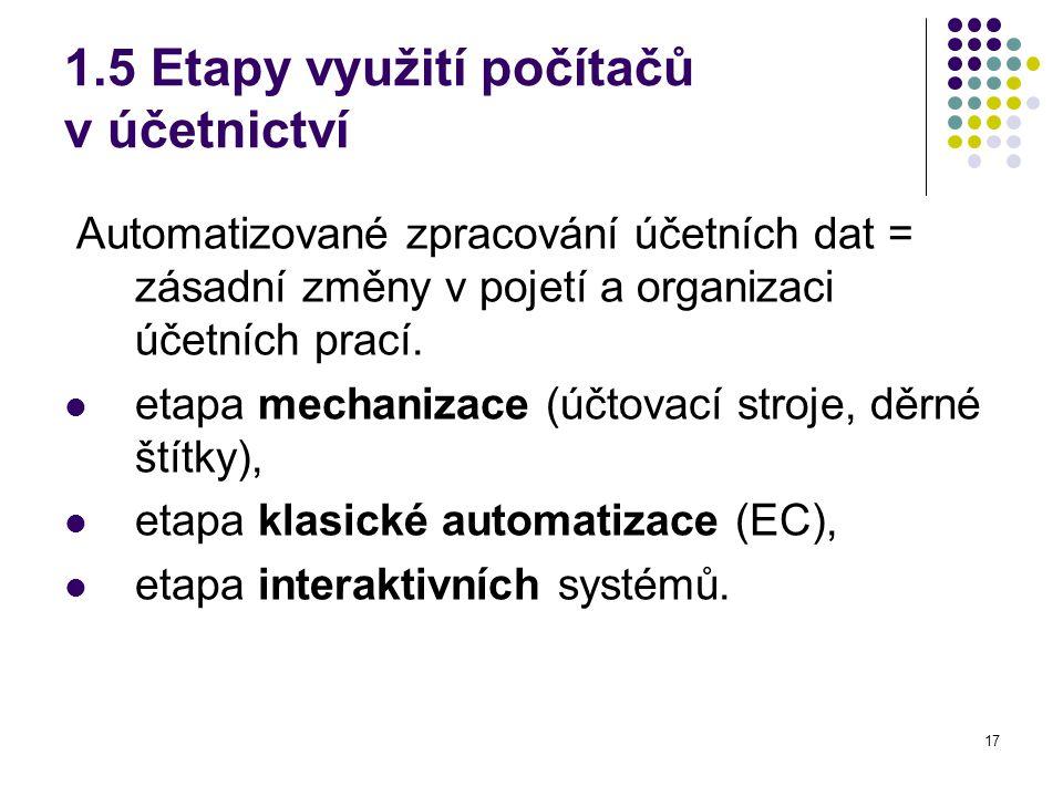 17 1.5 Etapy využití počítačů v účetnictví Automatizované zpracování účetních dat = zásadní změny v pojetí a organizaci účetních prací.