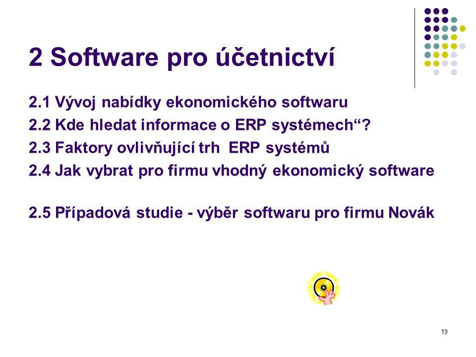 19 2 Software pro účetnictví 2.1 Vývoj nabídky ekonomického softwaru 2.2 Kde hledat informace o ERP systémech .