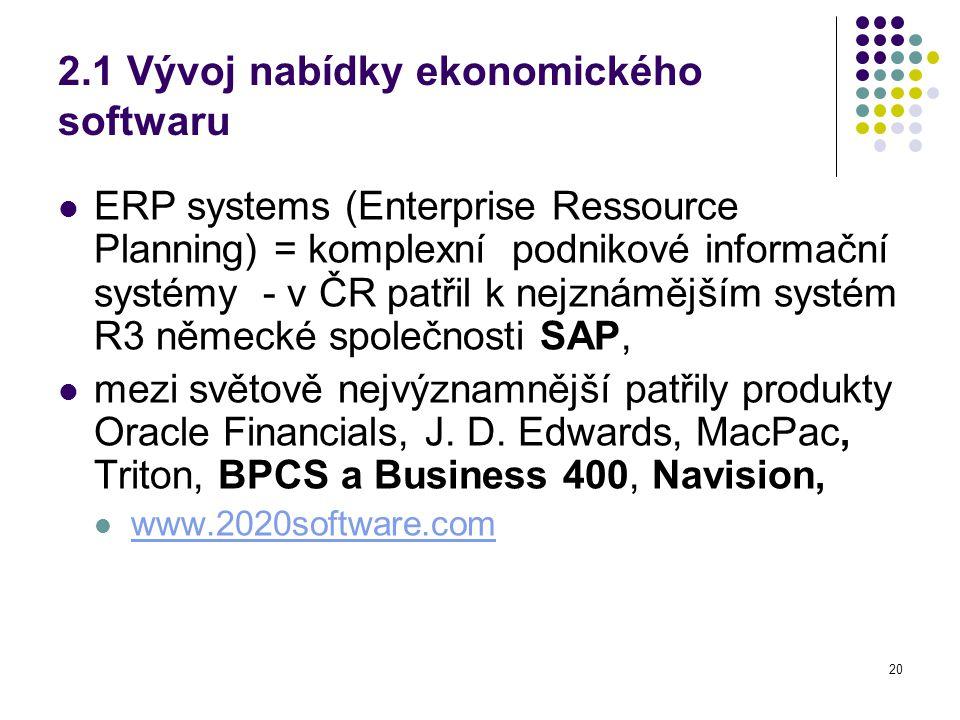 20 2.1 Vývoj nabídky ekonomického softwaru ERP systems (Enterprise Ressource Planning) = komplexní podnikové informační systémy - v ČR patřil k nejznámějším systém R3 německé společnosti SAP, mezi světově nejvýznamnější patřily produkty Oracle Financials, J.