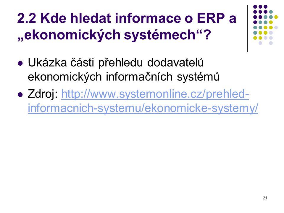 """21 2.2 Kde hledat informace o ERP a """"ekonomických systémech ."""