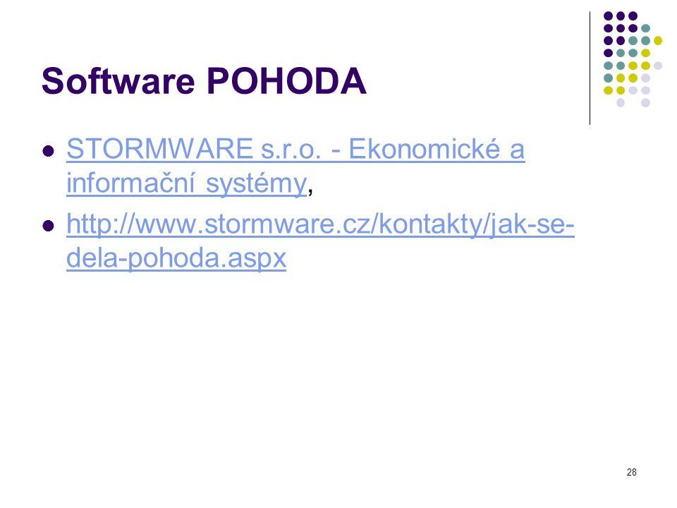 28 Software POHODA STORMWARE s.r.o.- Ekonomické a informační systémy, STORMWARE s.r.o.