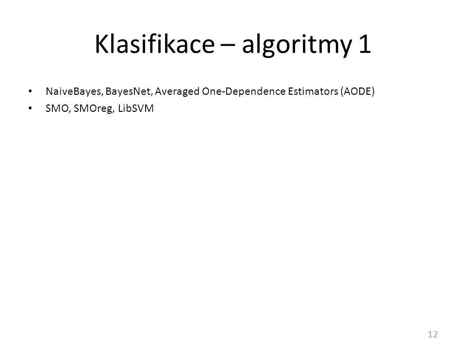 Klasifikace – algoritmy 1 12 NaiveBayes, BayesNet, Averaged One-Dependence Estimators (AODE) SMO, SMOreg, LibSVM