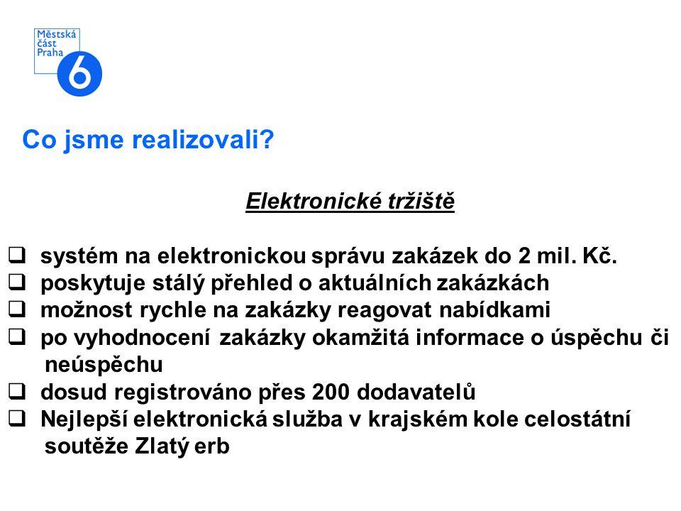 Co jsme realizovali? Elektronické tržiště  systém na elektronickou správu zakázek do 2 mil. Kč.  poskytuje stálý přehled o aktuálních zakázkách  mo