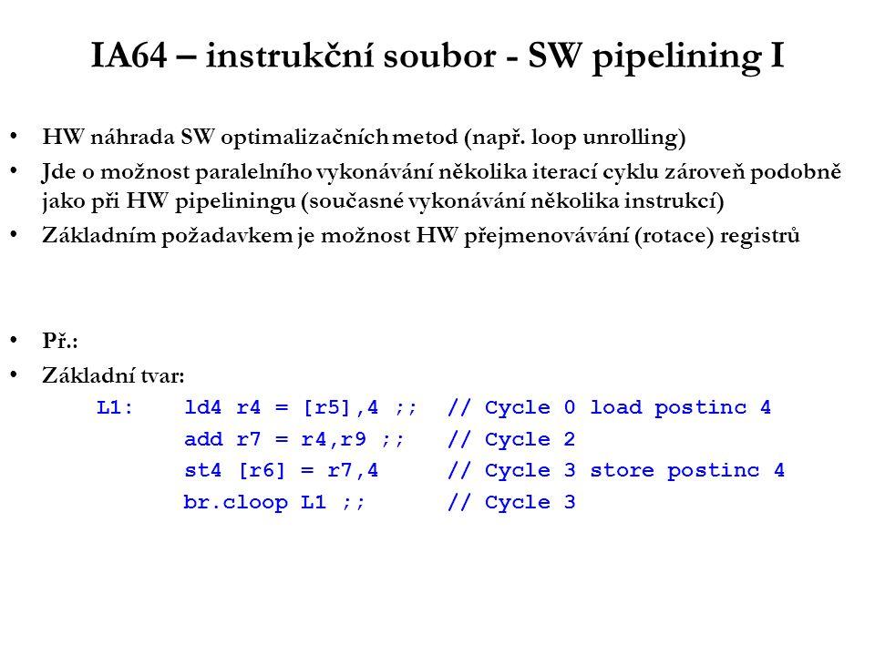 IA64 – instrukční soubor - SW pipelining I HW náhrada SW optimalizačních metod (např.