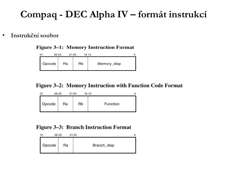 IA64 – instrukční soubor - SW pipelining III HW optimalizace - SW pipelining: stage 1:ld4 r4 = [r5],4 stage 2:--- // empty stage stage 3:add r7 = r4,r9 stage 4:st4 [r6] = r7,4 1 2 3 4 5 6Cycle ld4 X ld4 X+1 prolog add ld4 X+2 st4 add ld4 X+3 st4 add ld4 X+4 core st4 add ld4 X+5 st4 add X+6 st4 add X+7 epilog st4 X+8