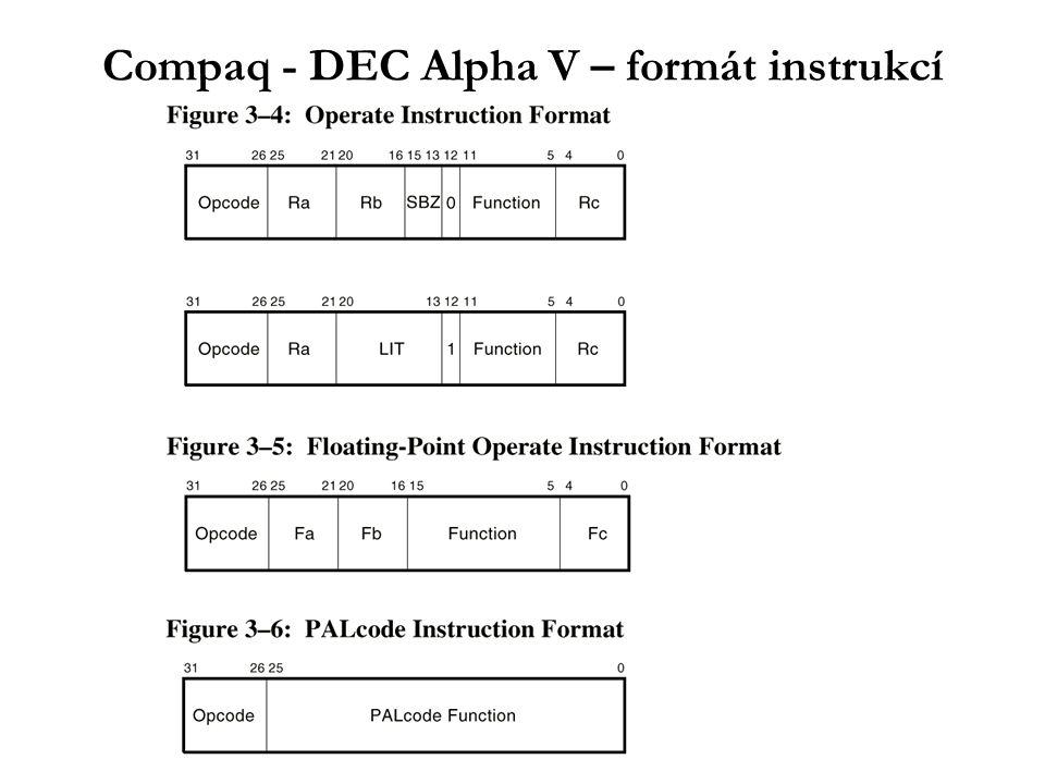 IA64 – instrukční soubor - SW pipelining IV HW optimalizace - SW pipelining, využití rotace registrů: L1: ld4 r35 = [r4],4 // post increment by 4 st4 [r5] = r37,4 // post increment by 4 swp_branch L1 ;; Možná je i rotace float a predikátových registrů –rotace predikátových registrů lze využít pro řízení SW pipeline - plnění, běh, vyprazdňování stage 1:(p16) ld4 r4 = [r5],4 stage 2:(p17) --- // empty stage stage 3:(p18) add r7 = r4,r9 stage 4:(p19) st4 [r6] = r7,4