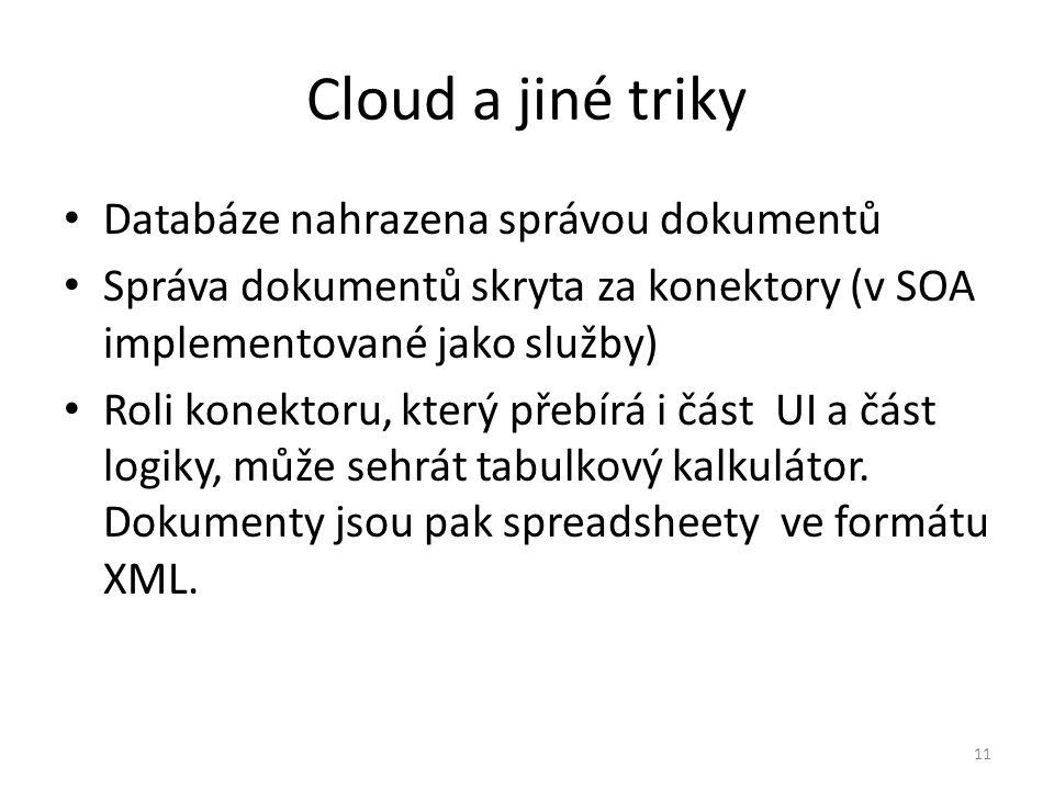 Cloud a jiné triky Databáze nahrazena správou dokumentů Správa dokumentů skryta za konektory (v SOA implementované jako služby) Roli konektoru, který přebírá i část UI a část logiky, může sehrát tabulkový kalkulátor.