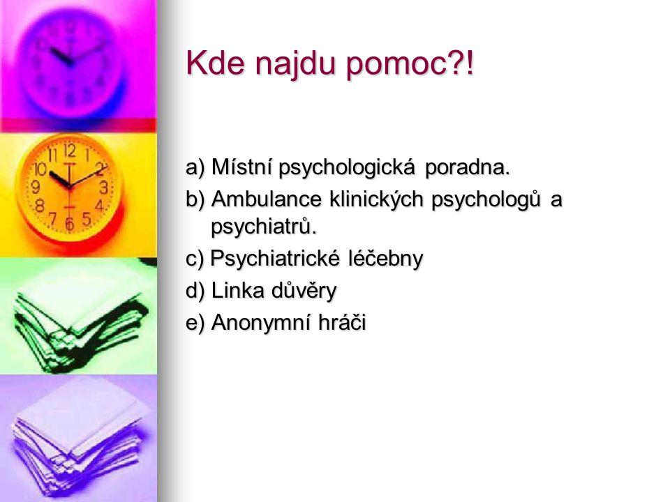 Kde najdu pomoc?! a) Místní psychologická poradna. b) Ambulance klinických psychologů a psychiatrů. c) Psychiatrické léčebny d) Linka důvěry e) Anonym