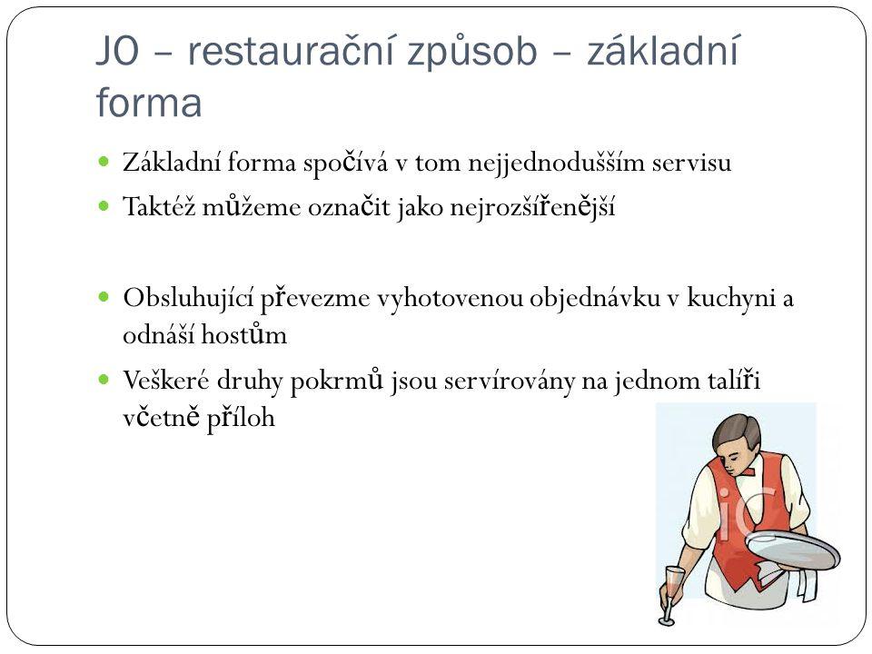 JO – restaurační způsob – základní forma Základní forma spo č ívá v tom nejjednodušším servisu Taktéž m ů žeme ozna č it jako nejrozší ř en ě jší Obsl