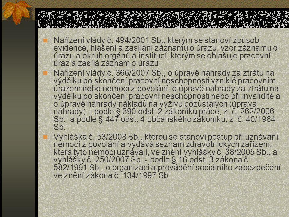 Předpisy k pracovním úrazům a nemocem z povolání Nařízení vlády č. 494/2001 Sb., kterým se stanoví způsob evidence, hlášení a zasílání záznamu o úrazu
