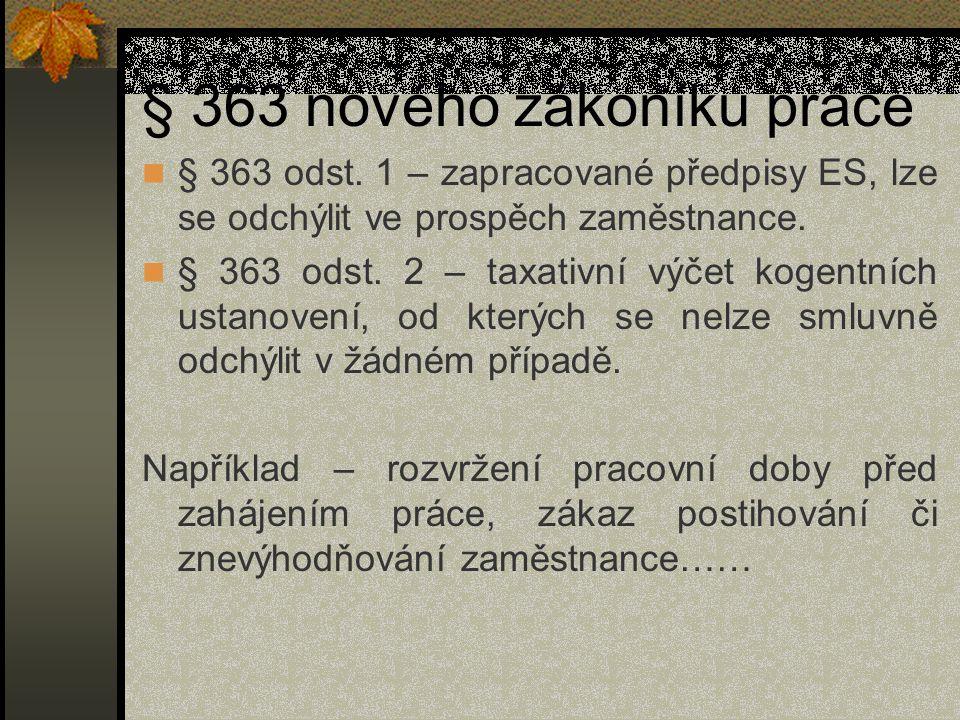 § 363 nového zákoníku práce § 363 odst.