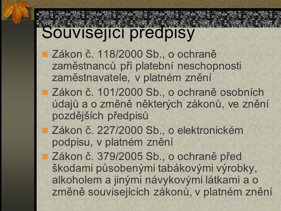 Související předpisy Zákon č.