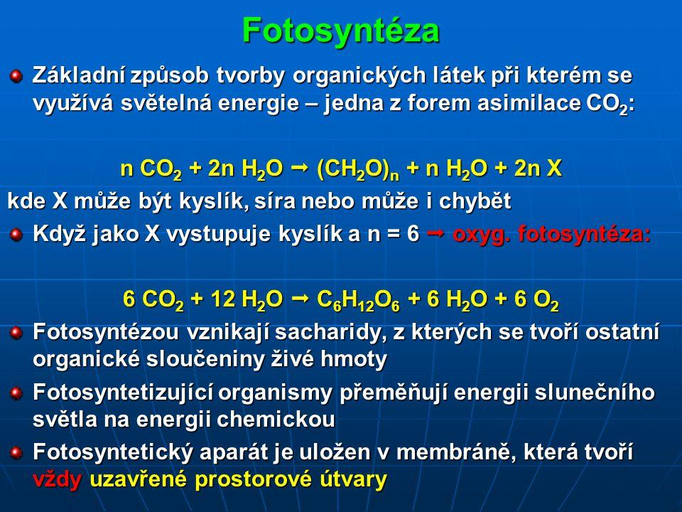 Fotosyntéza Základní způsob tvorby organických látek při kterém se využívá světelná energie – jedna z forem asimilace CO 2 : n CO 2 + 2n H 2 O  (CH 2 O) n + n H 2 O + 2n X kde X může být kyslík, síra nebo může i chybět Když jako X vystupuje kyslík a n = 6  oxyg.