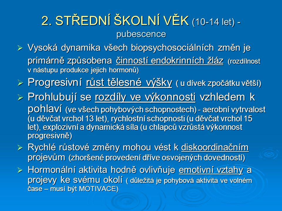 2. STŘEDNÍ ŠKOLNÍ VĚK (10-14 let) - pubescence  Vysoká dynamika všech biopsychosociálních změn je primárně způsobena činností endokrinních žláz (rozd