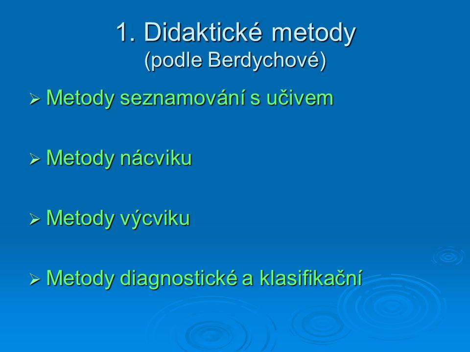 1. Didaktické metody (podle Berdychové)  Metody seznamování s učivem  Metody nácviku  Metody výcviku  Metody diagnostické a klasifikační