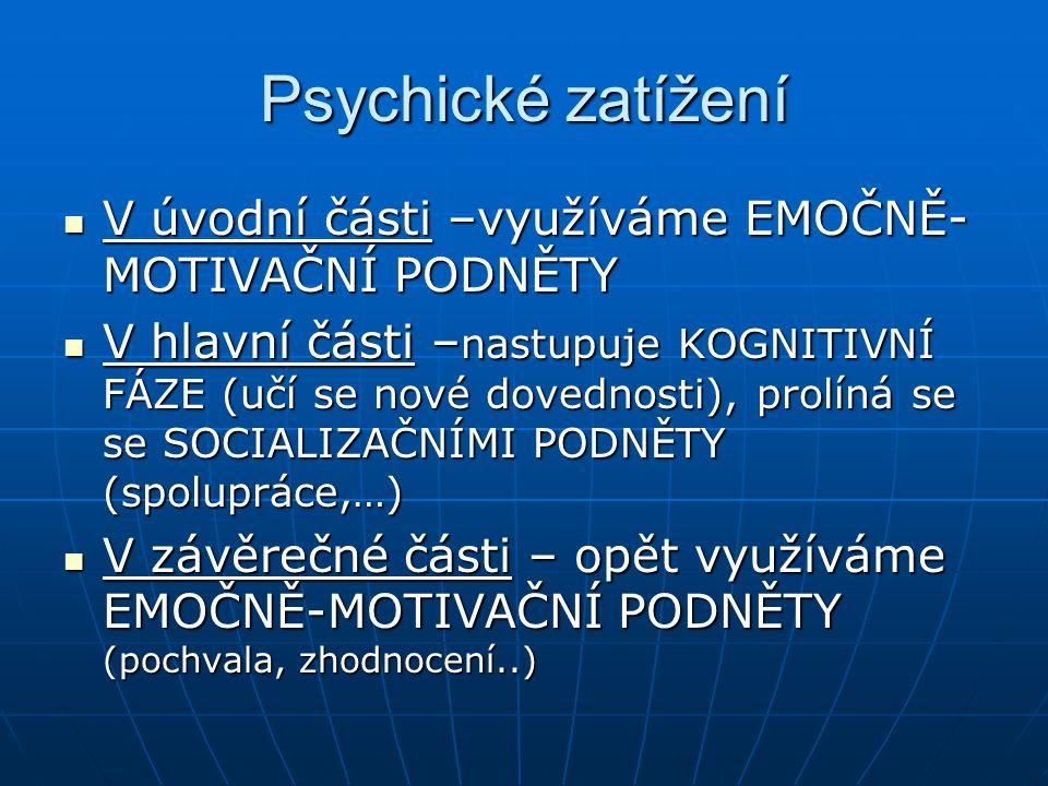 Psychické zatížení V úvodní části –využíváme EMOČNĚ- MOTIVAČNÍ PODNĚTY V úvodní části –využíváme EMOČNĚ- MOTIVAČNÍ PODNĚTY V hlavní části – nastupuje