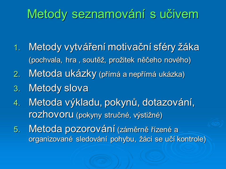 Metody nácviku  Metoda napodobení ukázky (hra na….)  Metoda opakování (při nácviku nové dovednosti)  Metoda pasivního pohybu (úprava správné polohy)  Metoda pohybového kontrastu (správná+špatná ukázka)  Metoda pohybového úkolu (individuální řešení)  Metoda hry Metody výcviku  Kruhový provoz  Doplňková cvičení