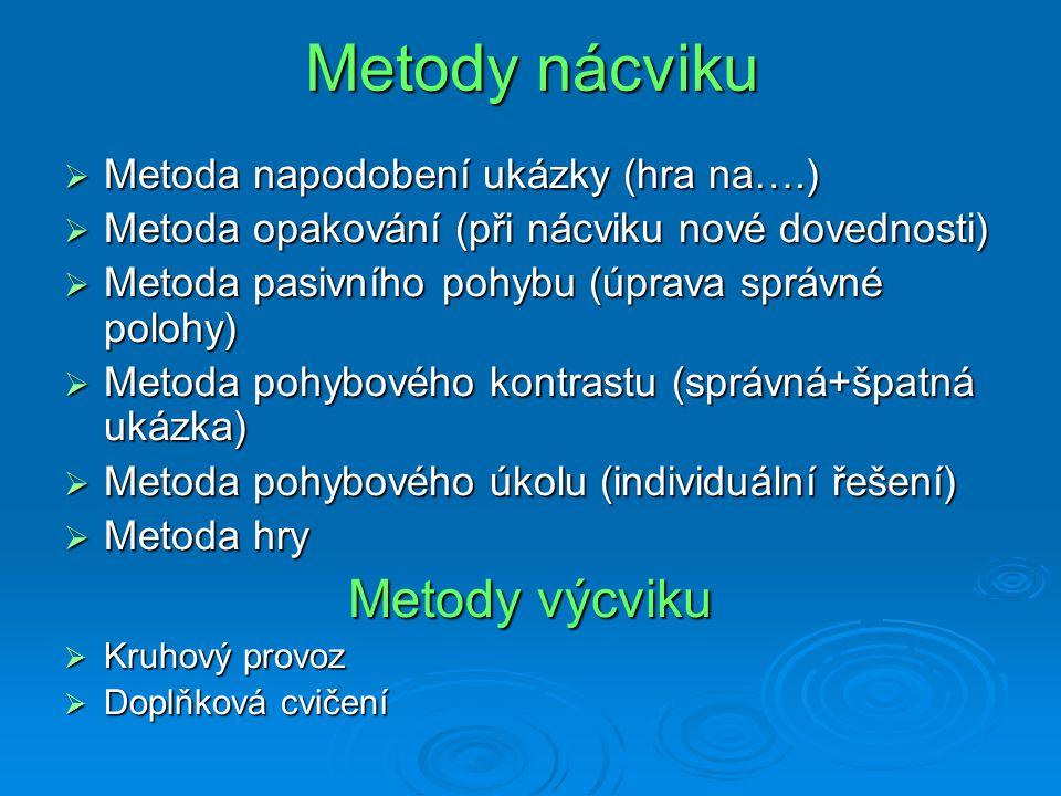 Metody nácviku  Metoda napodobení ukázky (hra na….)  Metoda opakování (při nácviku nové dovednosti)  Metoda pasivního pohybu (úprava správné polohy