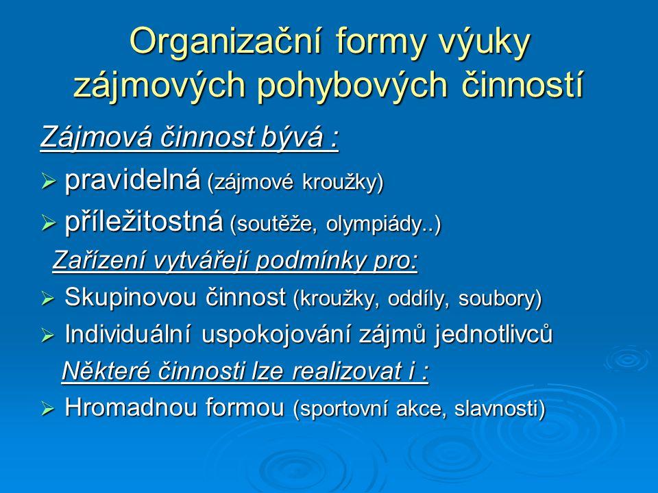 Organizační formy výuky zájmových pohybových činností Zájmová činnost bývá :  pravidelná (zájmové kroužky)  příležitostná (soutěže, olympiády..) Zař