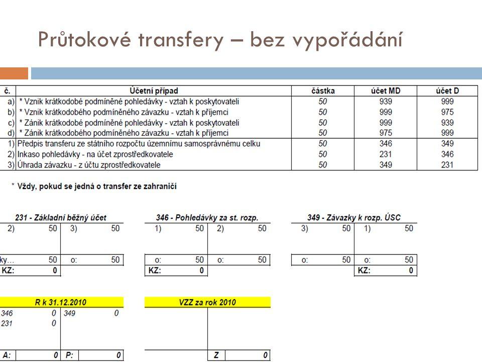 Průtokové transfery – bez vypořádání