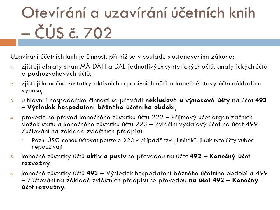 Otevírání a uzavírání účetních knih – ČÚS č.