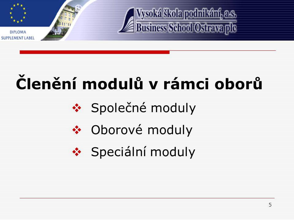 5 Členění modulů v rámci oborů  Společné moduly  Oborové moduly  Speciální moduly