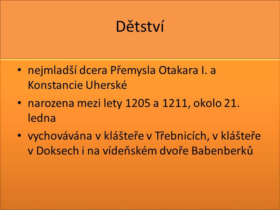 Dětství nejmladší dcera Přemysla Otakara I. a Konstancie Uherské narozena mezi lety 1205 a 1211, okolo 21. ledna vychovávána v klášteře v Třebnicích,