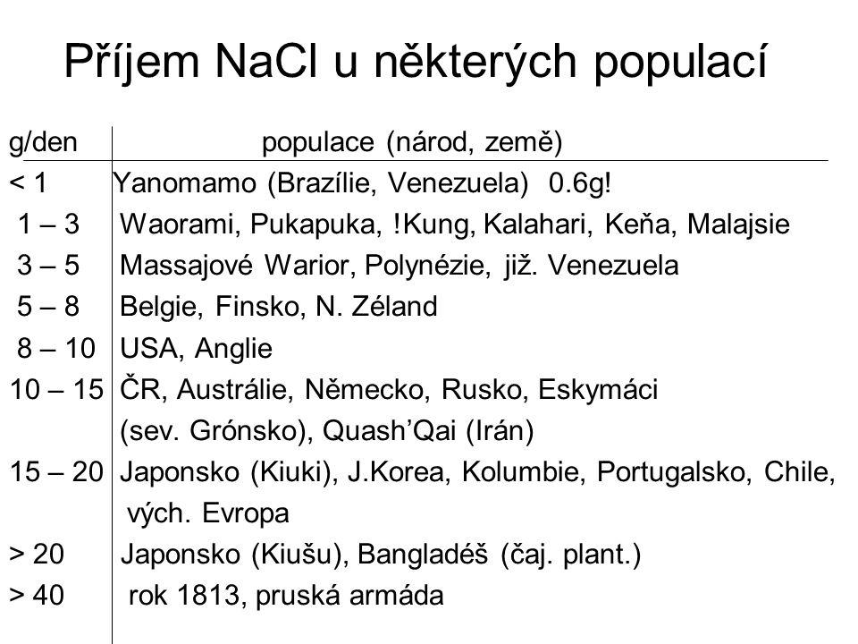 Příjem NaCl u některých populací g/den populace (národ, země) < 1 Yanomamo (Brazílie, Venezuela) 0.6g! 1 – 3 Waorami, Pukapuka, !Kung, Kalahari, Keňa,